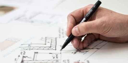 Architetto disegna architettura di case
