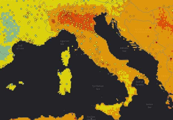 inquinamento atmosferico in italia