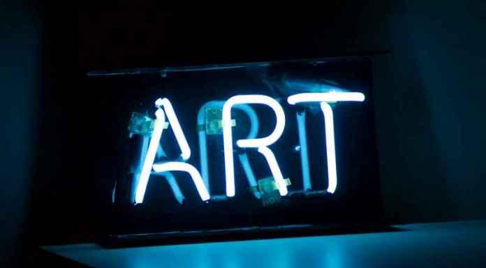 Scritta arte in neon luminoso