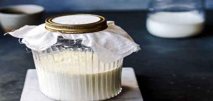 Barattoli di alimenti fermentati con yogurt